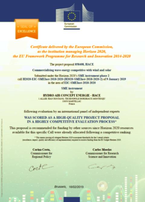 Acteur de la transition énergétique, la technologie Hace reçoit le prix d'Excellence européen.