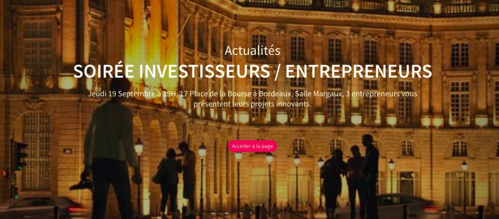 Soirée investisseurs et entrepreneurs le 19 septembre à la CCI de Bordeaux.